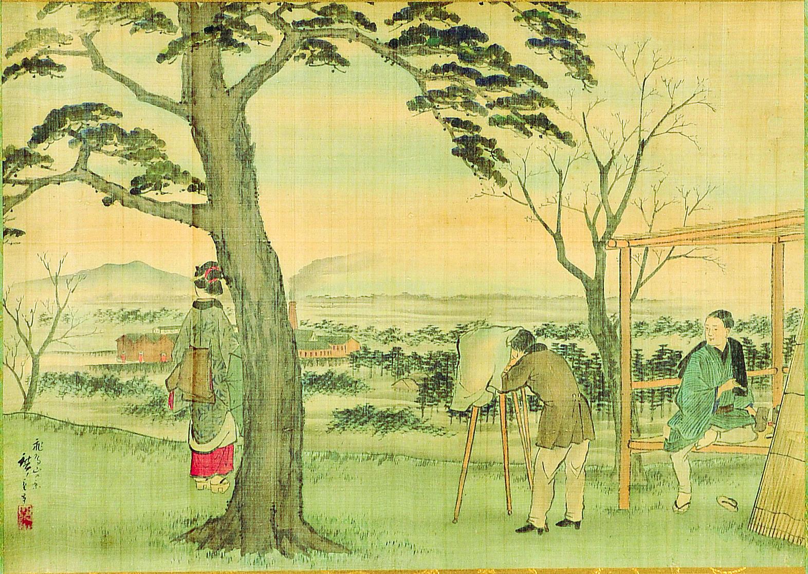 肉筆画「飛鳥山の景」三代歌川広重画/明治初期